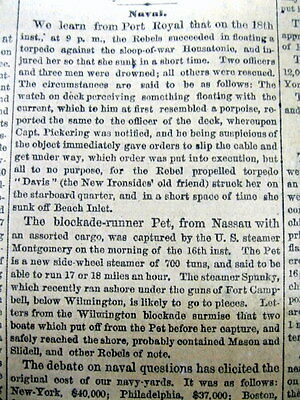 1864 Civil War newspaper Confederate Submarine CSS HUNLEY sinks a Union Warship