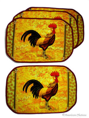 Set 4 Country Rooster Quilted Kitchen Table Place Mats Placemats (Rooster Table Mats)