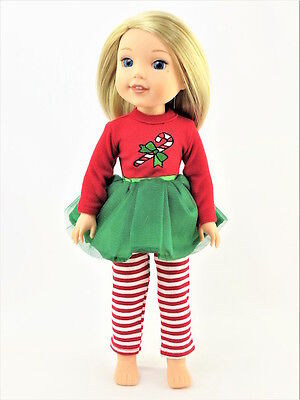 Candy Cane Tutu Dress Leggings Fits Wellie Wishers 14.5