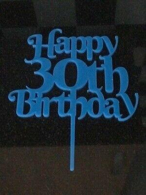 Happy 30th Birthday cake topper in light blue acrylic Happy Birthday celebration (Happy Birthday In Lights)