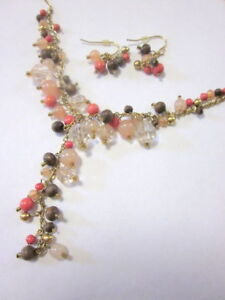 Vintage Avon Waterfall Necklace and  Earrings