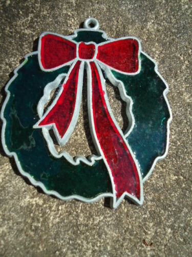 """Christmas Wreath w/ Red Bow Stains Glass Ornament/Window Decoration 3 1/2"""""""