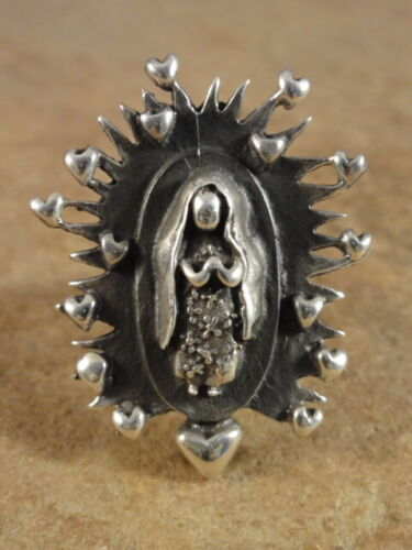 Mexican Mexico Sterling Silver Our Lady Of Guadalupe Ring sz. 9