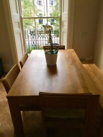 Antique Oak Dinner Table, Chairs and Bench