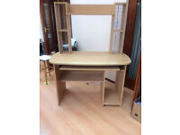 Computer desk/workstation. Wooden with keyboard drawer, tower space and shelf at top. Good condition