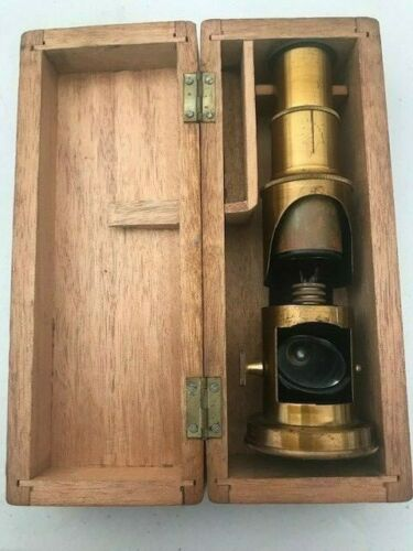 Antique Field/Pocket Microscope with Wooden Case Circa 1800s - Made in France