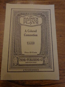 1929 Edition of Popular Plays; A Colored Commotion, A Blackface