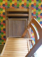 8 Chairs-Very popular,vintage wooden slat folding chairs