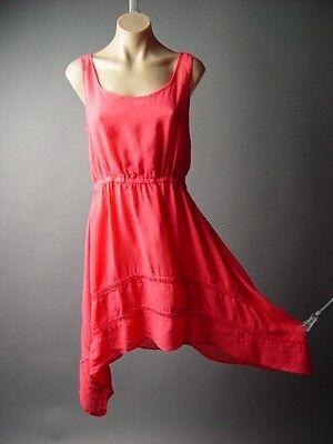 Sale Bright Coral Handkerchief Hem Spring Summer Skater Sun 92 mv Dress S M L (Handkerchief Dresses Sale)