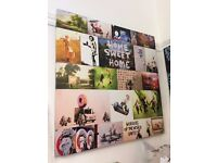 Large BANKSY COLLAGE CANVAS WALL ART Print Grafitti Montage Picture 76 x 76cm