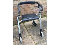 Folding Rollator walking aid/seat with detachable basket and tray nearly new