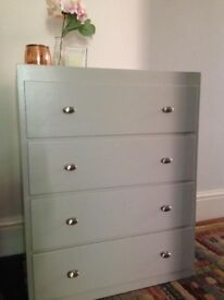 chest of drawers, painted pale grey