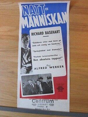 HE WALKED BY NIGHT film noir Richard Basehart Original Swedish '49 movie poster
