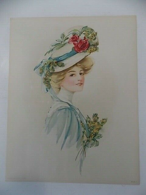 Original Victorian Lithograph Lady With Flowered Hat 98 F - $15.95