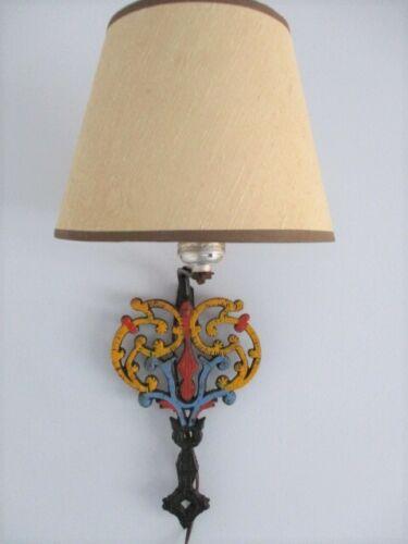 Blue Red Yellow Folk Art Country Kitchen Metal Trivet Wall Sconce Lamp Light