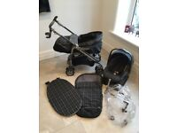 MAMAS AND PAPAS PILKO PRAMETTE TRAVEL SYSTEM WITH CAR SEAT IMMACULATE