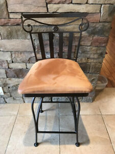 5 Wrought Iron / Microfiber Swivel Counter Stools