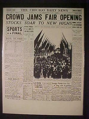 VINTAGE NEWSPAPER HEADLINE ~LARGE CROWD JAM 1933 CHICAGO WORLD'S FAIR OPENING~