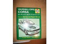 haynes service & repair manual for vauxhall corsa