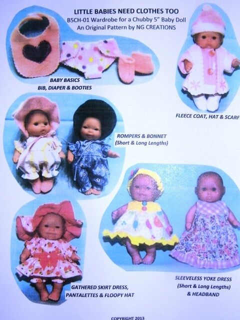 """NG Creations Sewing Pattern #1 fits 5"""" Berenguer Baby Dolls Lots To Love"""