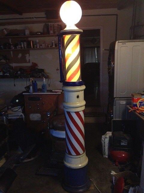 7 Foot Vintage Porcelain Theo koch Glass Barber Shop Pole
