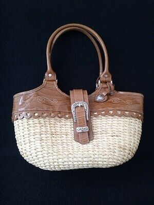 Vintage Wicker and Leather Handbag