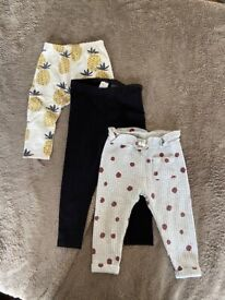 Baby girl leggings bundle 9-12m/1.5-2yrs Excellent Condition