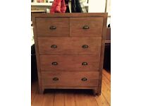 Lombok Sumatra solid teak 5 drawer Chest of Drawers- excellent condition. Only 9 months old.