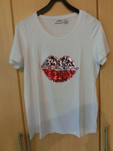 T-Shirt Amy Vermont , Weiß mit Palietten Mund Gr. 42
