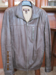 Men's DANIER,BROWN LEATHER JACKET,SIZE L,BOUGHT NEW.