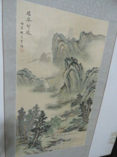 vintage scroll painting silk chinese art big landscape calligraphy 67x24 asian
