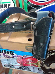 Vintage leather holster for toy pistol and belt London Ontario image 1