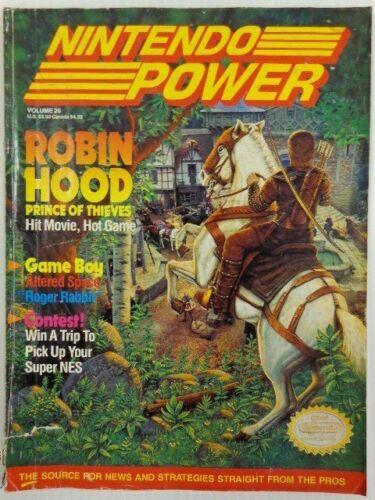 VINTAGE NINTENDO POWER MAGAZINE VOL.26  / JULY 1991 ROBIN HOOD PRINCE OF THIEVES