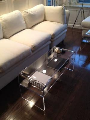 (Acrylic Coffee Cocktail Table  Lucite with  SHELF for magazines etc 40x16x18x3/4)