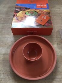 Boots Terracotta Dipping Set Chip n Dip Party Bowl - Boxed Unused - Mint