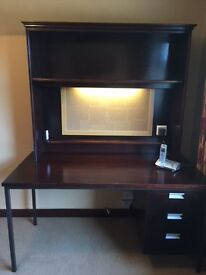 Desk with bookshelf and integrated light with notice board and additional plug,