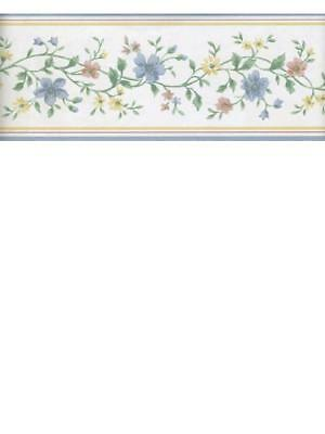 SMALL FLORAL ON WHITE WITH BLUE AND YELLOW TRIM  WALLPAPER BORDER