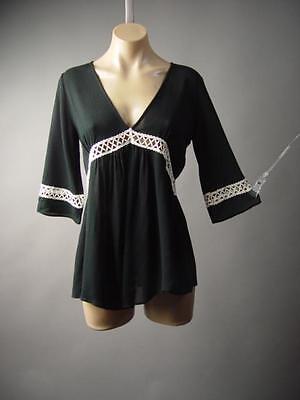 Black Ivory Crochet Empire Waist Medieval Peasant V-Neck Top 182 mv Blouse S M L](Medieval Peasant Blouse)