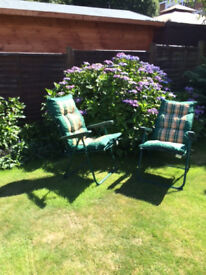 Garden recliners - adjustable and with thick padded cushions