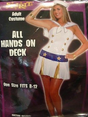 SPIRIT HALLOWEEN COSTUME ALL HANDS ON DECK SAILOR UNIFORM WOMEN'S ONE SIZE 8-12 (Spirit Halloween Sailor Costume)
