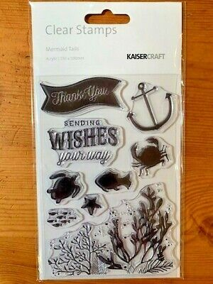 Kaisercraft Mermaid Tails Clear Stamp Set - 155mm x 105mm,  9 stamps, CS263