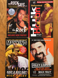 Four classic WWE books by Mankind (2), The Rock, Hogan