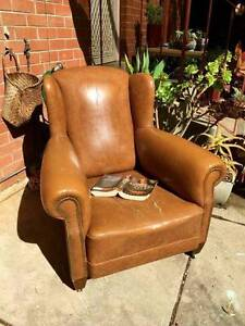 Large custom-made Wingback Armchair (brown vinyl) Pasadena Mitcham Area Preview