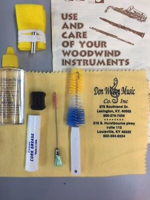 Clarinet Cleaning Care Kit  (Swab, brushes,cork grease)