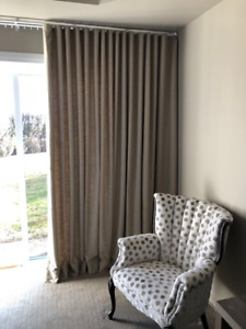 Lined Ripple Fold Drapes - Almost New