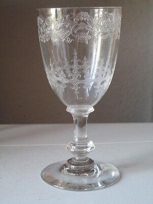 Sherry Südwein Glas um 1900 geätzter Dekor Ätzdekor Knubbelfuß
