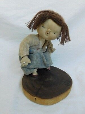 VINTAGE JAPANESE FABRIC CLOTH DOLL ON STAND SIGNED CROUCHING