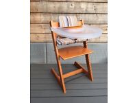Stokke Tripp Trapp High Chair (Mid oak), Baby set, Cushion and Tray.