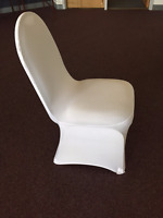 White Spandex Polyester Chair Covers - Brand New for rent