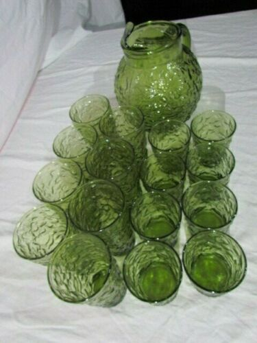 Vintage Anchor Hocking Lido Milano Green Glass Ball Pitcher & Lot of 16 Glasses